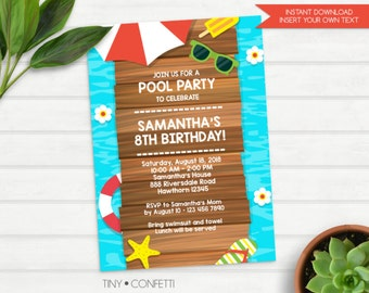 Pool party invitation, kids pool party invite, adult birthday invitation, adult pool party invitation, summer invitation, pool birthday