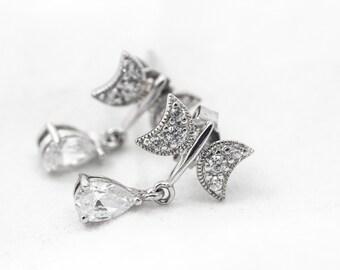 Butterfly CZ Drop Sterling Silver Earrings