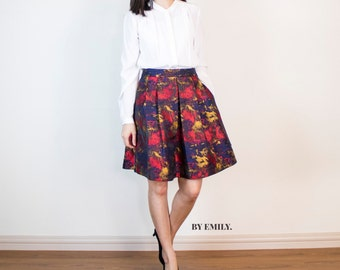 Alexis Pleated Skirt in Painterly Jacquard