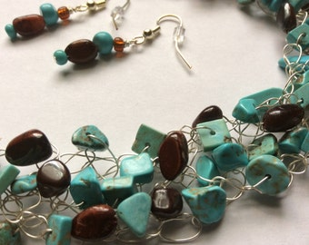 Wire Crochet Necklace, Matching Dangle Earrings, Turquoise Chips with Tiger Eye Beads, Crochet Jewelry, Crocheted Wire Necklace
