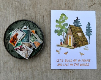 A-Frame Watercolor Greeting Card, Cabin In The Woods, Adventure, Nature Card by Little Truths Studio