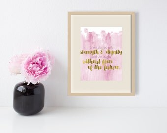 Proverbs 31 Clothed in Strength and Dignity Watercolor Scripture Wall Art