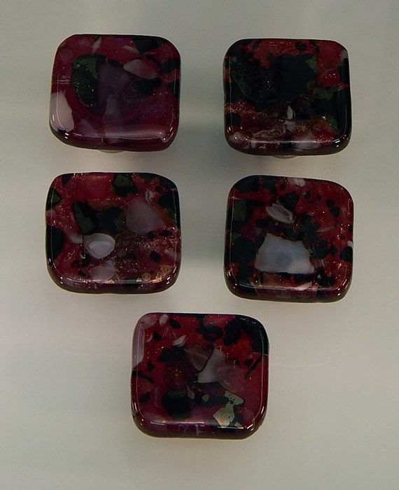 Decorative colored art fused glass cabinet door knobs - Red kitchen cabinet knobs ...