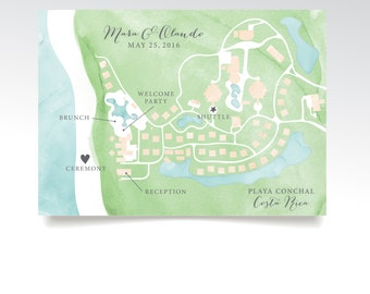 Level 4 Map . Costa Rica Wedding Custom Map & Directions . 5 x 7in Printed Card . Calligraphy Teal Pink Watercolor Destination Beach island