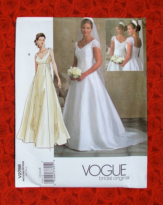 Vogue sewing pattern v2788 bridal gown formal evening for Empire waist wedding dress patterns