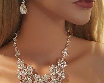 Bridal Austrian Crystal Statement Necklace Set / Wedding Necklace Set