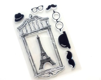 "Set of 7 clear stamps ""Paris"" (Eiffel tower, picture frame, moustaches, hats)"