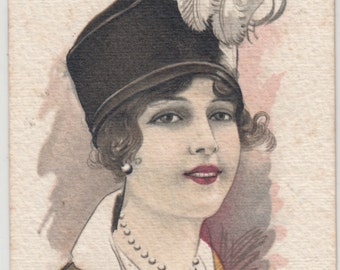 Cherubini A/S Glamorous Woman With Feather Hat Wonderful Stock,Postcard Has Hand Painted Look