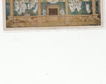 """Boston Public Library """"Muses Mural Welcome The Enlightenment""""  PM 1924 Antiique Postcard"""
