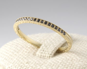 Thin Black Diamond Eternity Band 14K Solid Gold, Black Diamond Eternity Ring, Diamond Wedding Band