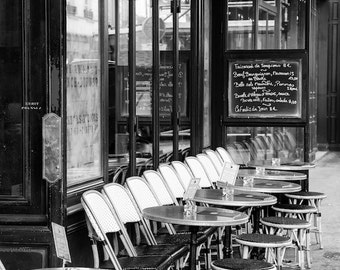 Paris black and white photography, Paris cafe, sidewalk cafe, Paris photography, black and white photo, Paris decor, fine art print