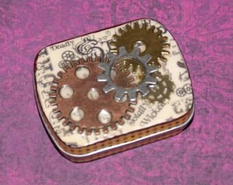 Tin Steampunk Trinket Box small