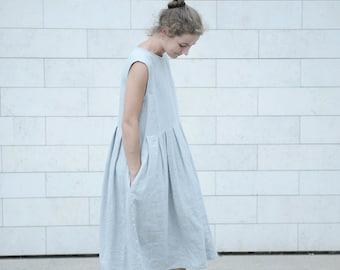 Wide Linen Dress / Pleated Linen Dress / Summer Linen Dress / Women's Linen / Loose fit / Long Linen Dress