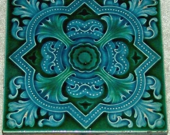 Rare antique Art Nouveau Floral Aesthetic gothic Majolica Green and Blue Ceramic Tile by The Cleveland Tile Company c.1905 (ref: 2092)
