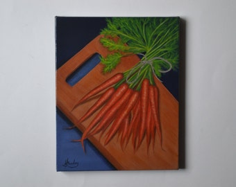 Original acrylic 8x10' carrot painting, carrots, tiny kitchen painting, small still life painting, vegetable painting, artwork food art