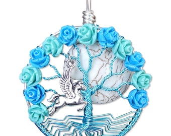 Pegasus and Roses Tree of Life Pendant