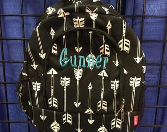 Arrow Print Monogrammed School Backpack Black and White