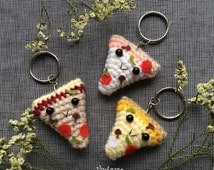 Pizza Slice Keychain or for Dollhouse - Handcrafted Crocheted Amigurumi Birthday Anniversary Gift (Price for one item)