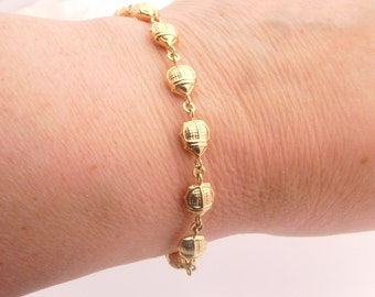 14K Yellow Gold Beetle Bracelet 7 Inches