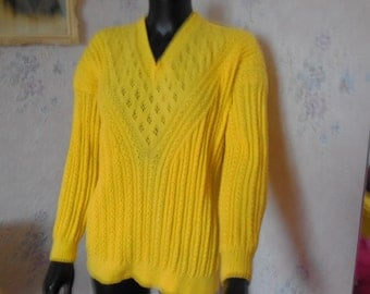 PRETTY SWEATER LACY - knit - yoke and V neck - handmade fine wool - pretty openwork stitches, cables and false openwork twists