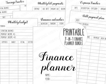 Printable personal planner inserts: Finance planner | Financial planner | Monthly budget | Expense, savings, debt tracker | Instant Download