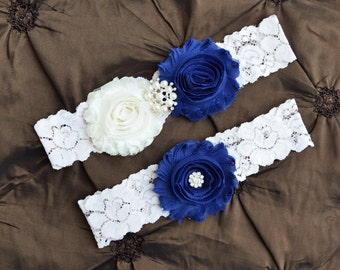 SOMETHING BLUE Wedding Garter Set, Bridal Garter, Ivory Lace Garter, Royal Blue Garter, Something Blue Garter, Blue Wedding Garter