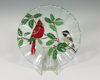 Cardinal and Chickadee Fused Glass Bowl
