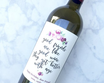 Birthday Gift Wine Labels Birthday Gift for Friend Birthday Wine Bottle Labels Party Favors Happy Birthday Card