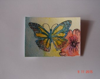ACEO watercolour painting, 'Butterfly and Poppy' Original watercolour and ink flower painting, miniature butterfly floral art, Australian
