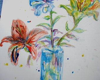 Flower Watercolour Painting, Lily art 'Three Lilies', Original watercolour flower painting, lily floral still life, lily, Australian Vase