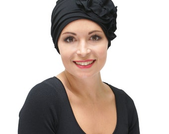 Black Stylish Chemo Headwear | Hats for Womens Hair Loss | Hats for Chemotherapy | Smart Chemo Hats | Cancer Hats - sizes available