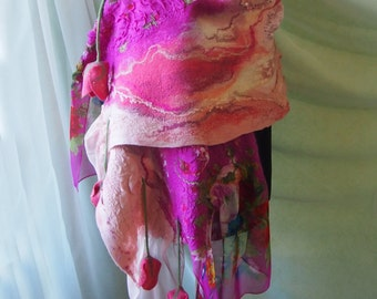 Nuno felted scarf-Felted wool scarf-Felted scarf-Nuno felted shawl-felted scarves-felted shawl-red-pink-READY TO SHIP