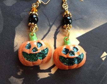 Halloween Jewelry, Pumpkin Earrings, Halloween Earrings, Orange and Black Earrings,  Earrings