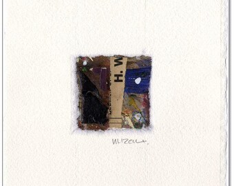 Original collage: No.. 9 / 8 x 8 cm with handmade paper mat