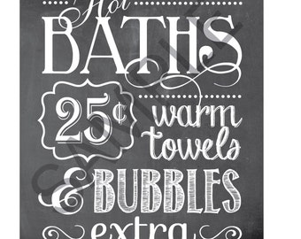 Hot Baths Word Art 8x10 Print / Sign - Baths, Bubbles & Hot Towels!