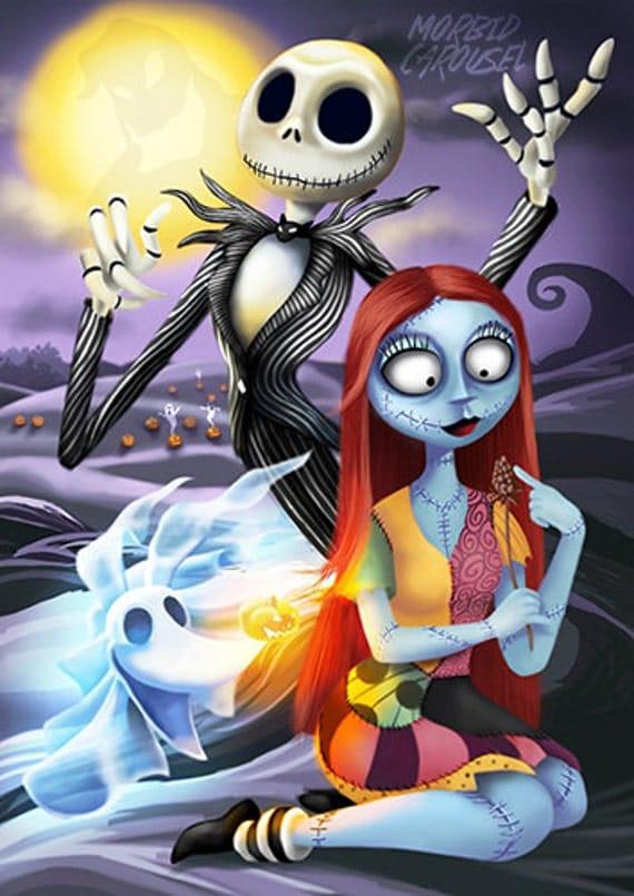 Nightmare Before Christmas Jack Sally & Zero A3 Giclee Art