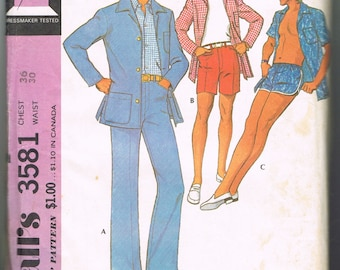 1970s Men's Leisure Suit Pattern, Mens Suit with Shorts, Patio Jacket, Swim Shorts Pattern, Swimming Trunks, McCalls 3581, Waist Size 30 In