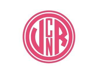 Four Initial Monogram Decal Sticker - Four Letter Monogram Decal, 4 Letter Monogram, 4 Letter Initials Monogram, Vinyl Monogram Decal