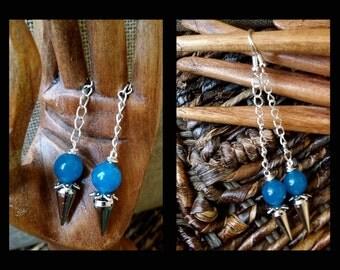 "Cobalt Blue Chalcedony Spiritual 8 mm Sterling Silver Dangle Drops Rivet Earrings 3"""
