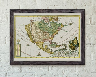 America Borealis 1699 - Early Map of of the USA by Heinrich Scherer - Vintage Map Print - Map Poster