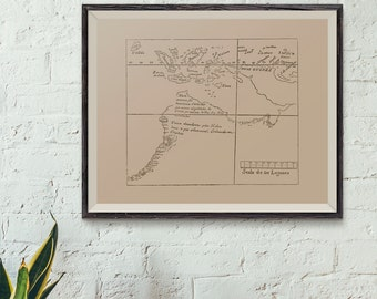 First ever map of Australia - Discovery of Australia map when the Dutch found Western Australia, Reproduction of antique map