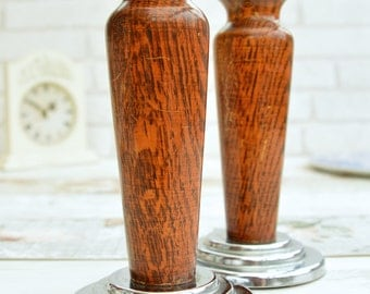 A pair of Wooden Chambersticks Vintage Candle Holders Vintage Wood Candlesticks Vintage Lighting Candlestick Holder