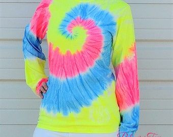 Plus Size Monogrammed Long Sleeve Tie Dye Shirt (Neon Tie-Dyed Monogram T-Shirt 2XL, 3XL, 4XL, XXL, XXXL, XXXXL) Embroidered PC147LS