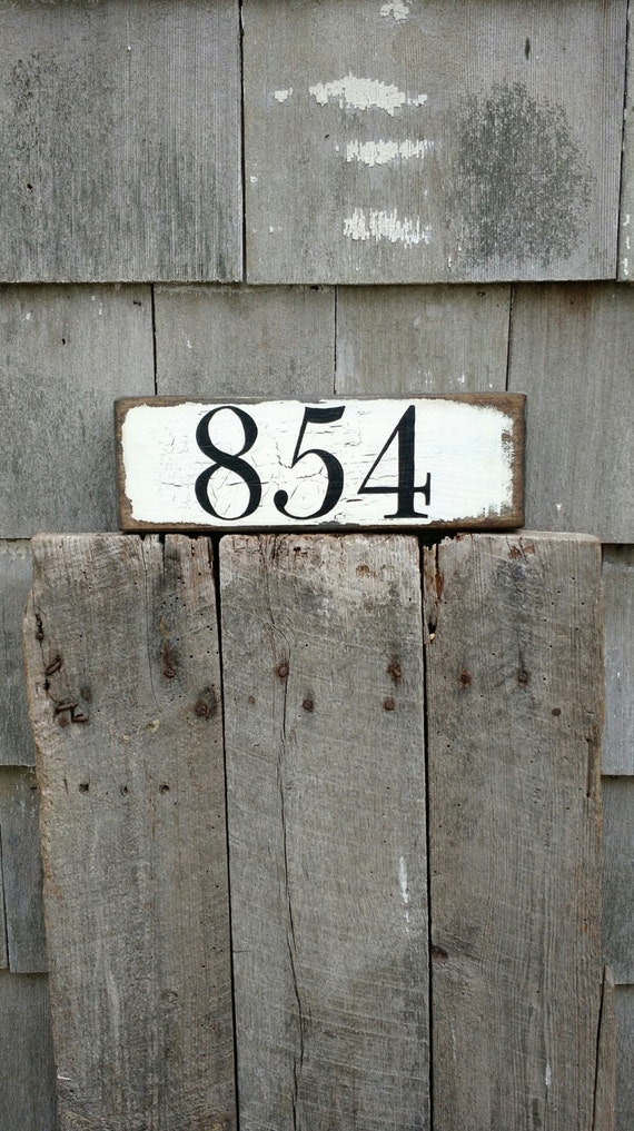 Custom House Number Sign Hand Painted Distressed On Reclaimed