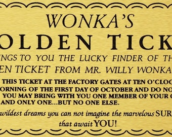 Willy Wonka Printable Golden Ticket