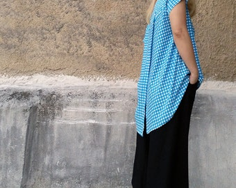 Checkered Top-womens top-summer top-openback top-slit back top