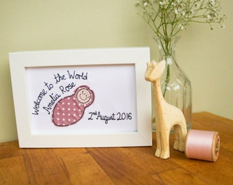Welcome to the World Baby Girl Personalised framed picture