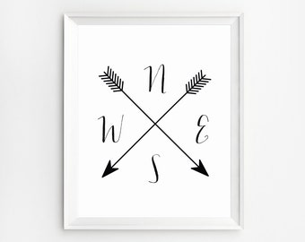 Wall Art, Compass Print, Black and White Print, Compass arrows printable, Cardinal Directions Art, Arrow Compass, NWES Prints