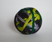 """Dyed to Order: """"The Potions Master (4 color self-striping)"""" - Chartreuse, Silver Gray, Emerald Green, Black Stripes"""