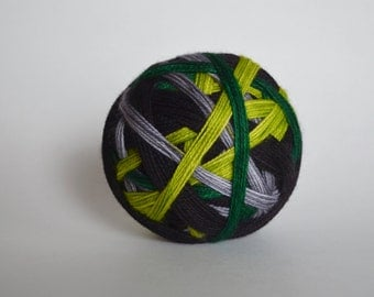 "Dyed to Order: ""The Potions Master (4 color self-striping)"" - Chartreuse, Silver Gray, Emerald Green, Black Stripes"